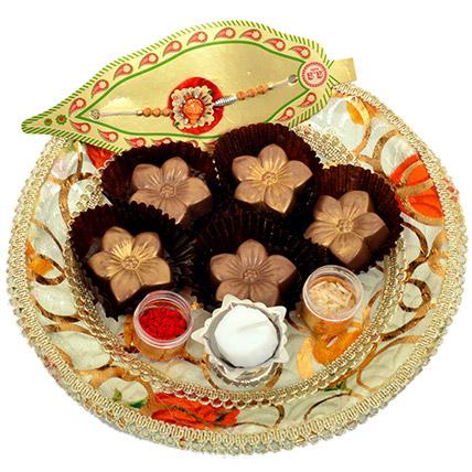 Small Raksha Bandhan Tray with Golden Flowers: Rakhi for Brother
