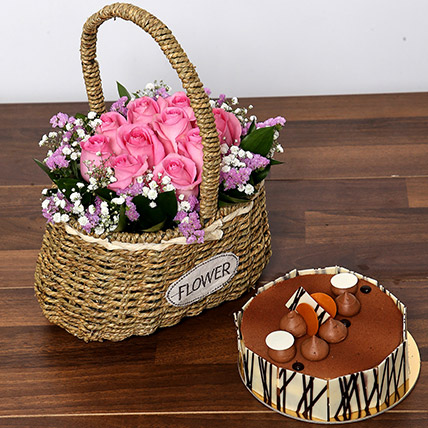 Soft Pink Roses Basket and Cake Combo: Anniversary Flowers & Cakes
