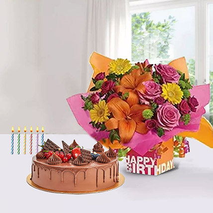 Special Birthday Surprise: Flowers with Cakes in Abu Dhabi