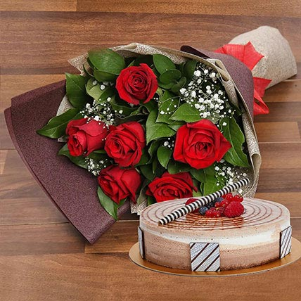 Triple Chocolate Cake and Red Roses Bouquet Combo: Valentines Day Flowers & Cakes