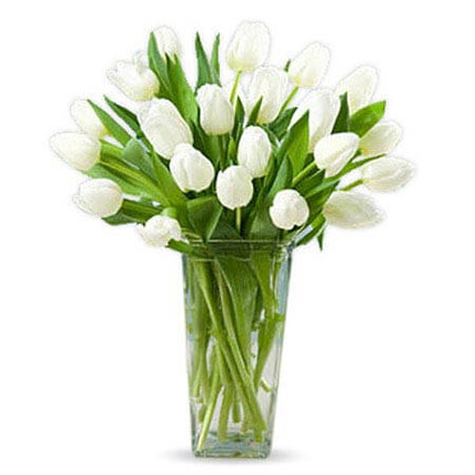 20 White Tulips: Anniversary Flowers for Parents