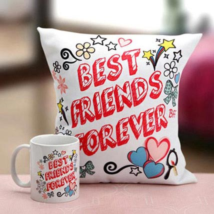 Best Friends Mug N Cushion: Friendship Day Mugs