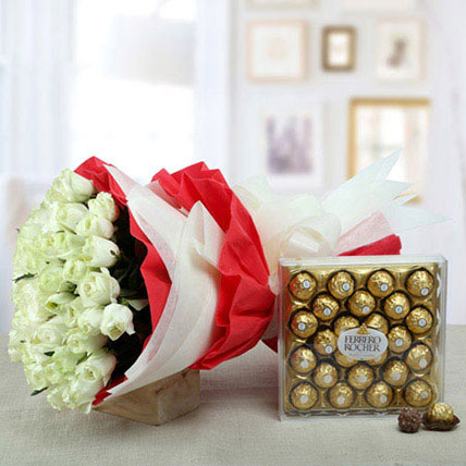 Timeless Refreshing Combo: Flowers and Chocolates