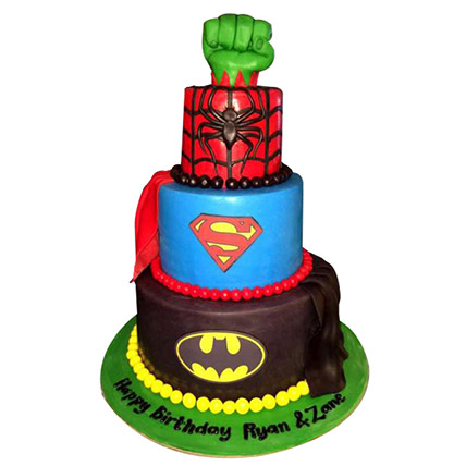 Superheroes Revisited Cake:  Birthday Cakes for Kids