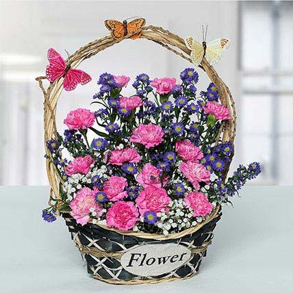 Deightful Carnations N Blue Aster Flower Basket: Birthday Basket Arrangements