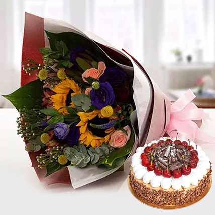 Alluring Flower Bouquet With Blackforest Cake: Order Flowers