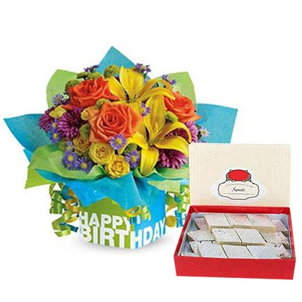 Mixed Flowers Arrangement and Kaju Katli Combo: Birthday Flowers With Sweets