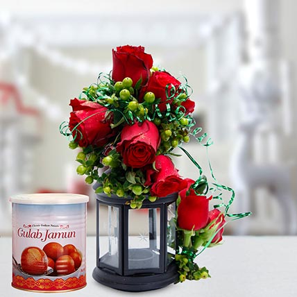 Alluring Roses Arrangement and Gulab Jamun Combo: Diwali Flowers