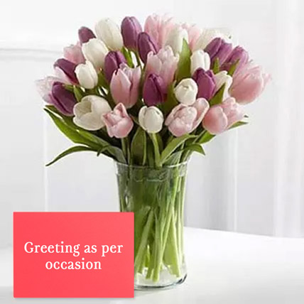 Tulips Vase Arrangement With Greeting Card: Fathers Day Flowers & Greeting Cards
