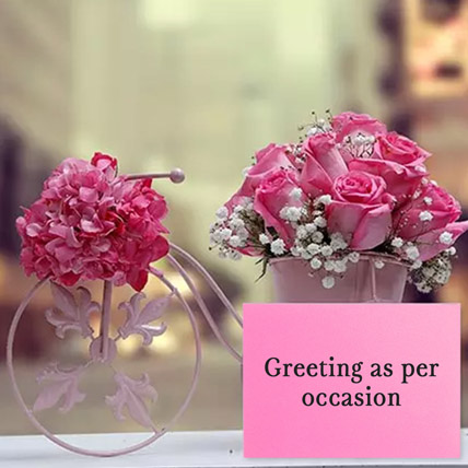 Floral Cycle Arrangement With Greeting Card: Flowers with Friendship Day Greeting Cards