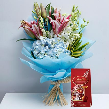 Delicate Flowers and Lindt Chocolate Combo: Flowers and Chocolates