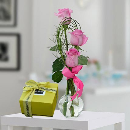 Pink Roses and Patchi Chocolate Combo: Patchi Chocolates