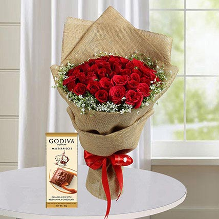 30 Red Roses and Godiva Chocolate Combo: Flowers and Chocolates for Rose Day