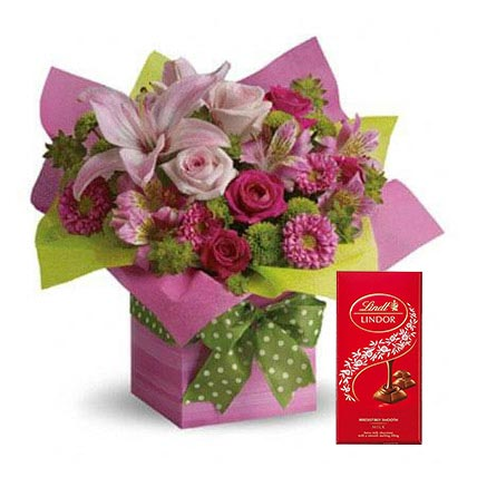 Mixed Flowers Arrangement and Lindt Chocolate Combo: One Hour Delivery Chocolates
