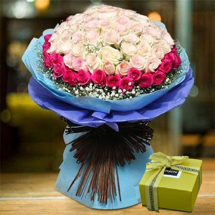 Splendid Roses Bouquet and Patchi Chocolate Combo: Flowers and Chocolates for Rose Day