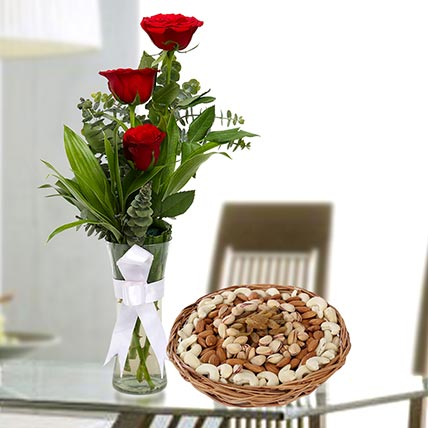 Red Roses Vase Arrangement and Dry Fruits Combo: Anniversary Flowers and Dry Fruits