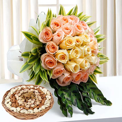Bunch Of Roses and Dry Fruits Combo: Dry Fruits