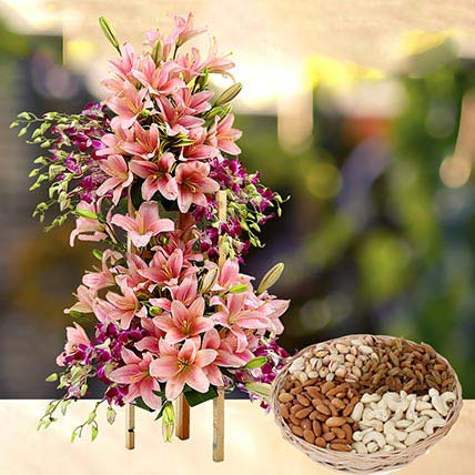 Exotic Flowers Arrangement and Dry Fruits Combo: Flowers and Dry Fruits