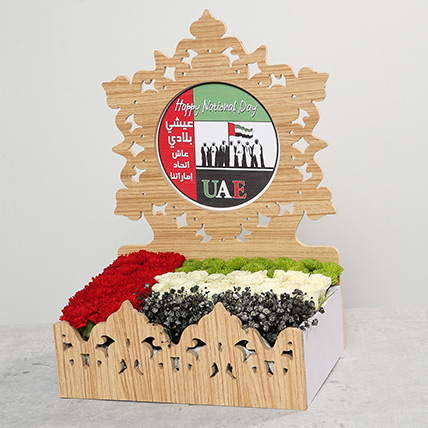 Mixed Flowers In UAE Day Wooden Base: UAE National Day Flowers