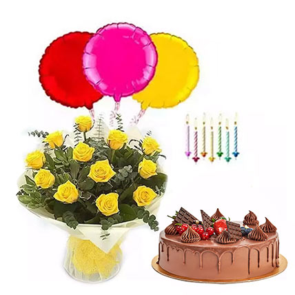 Birthday Surprise Collection 2: Flowers with Cakes in Abu Dhabi