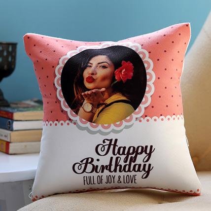 Personalised Joy and Love Birthday Cushion: Personalized Gifts Abu Dhabi