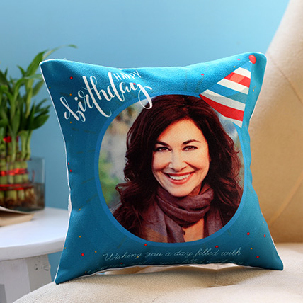 Personalised Birthday Cap Cushion: Personalised Gifts for Sister