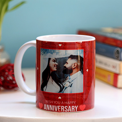 Personalised Anniversary Red Heart Mug: Marriage Anniversary Gifts for Wife