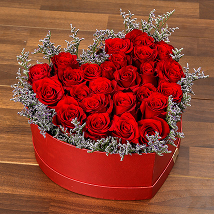Red Roses In Heart Shape Box: Flower in a Box