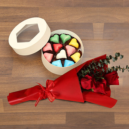 Roses with Heartshape Chocolates: Valentines Day Gifts