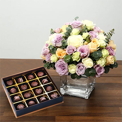 Purple and White Roses Array With Belgian Chocolates: Gifts Combos
