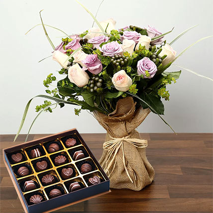 Purple and Peach Rose Bouquet With Chocolates: Anniversary Flowers and Chocolates
