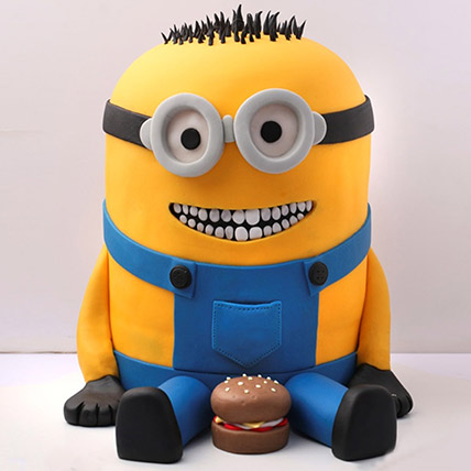 Lovable Minion With A Burger Cake 3 Kg: Designer Cakes for Birthday
