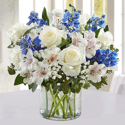 Blue and White Floral Bunch In Glass Vase: Flower Delivery