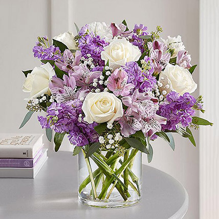 Purple and White Floral Bunch In Glass Vase: Premium Flowers