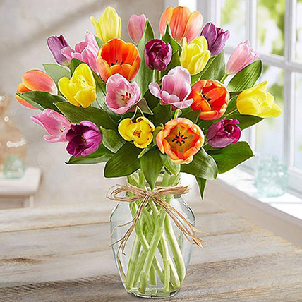 Colourful Tulips In Glass Vase: Tulips Bouquet