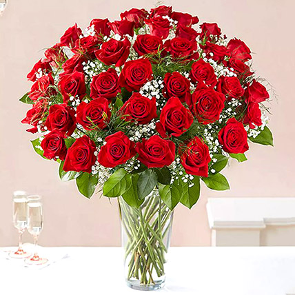 Bunch of 50 Scarlet Red Roses: Anniversary Gifts