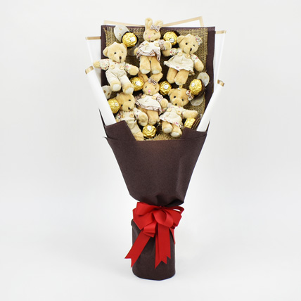 Chocolates and Teddy Bear Heart Shaped Bouquet: Birthday Gift for Girlfriend