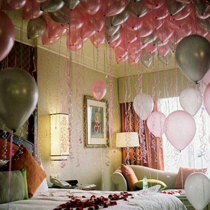 75 Helium Balloons and Rose Petals Surprise: Party Supplies to Sharjah
