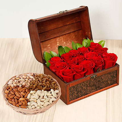 Rose Box Arrangement and Dry Fruits Combo: Anniversary Flowers and Dry Fruits