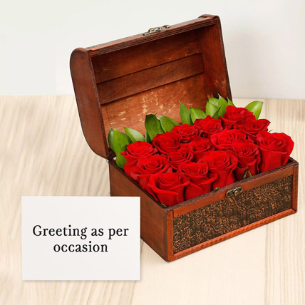 Red Roses Treasured Box With Greeting Card: Karwa Chauth Flowers and Greeting Cards