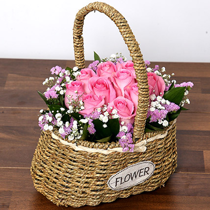 Soft Pink Roses Basket: Birthday Flowers for Friend