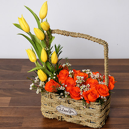 Orange Roses and Yellow Tulips Basket: Anniversary Basket Arrangements