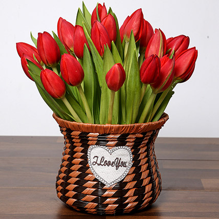 Blissful Red Tulips Basket: Tulips Bouquet