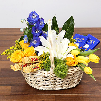 Yellow and Blue Floral Basket With Chocolates: Basket Arrangements