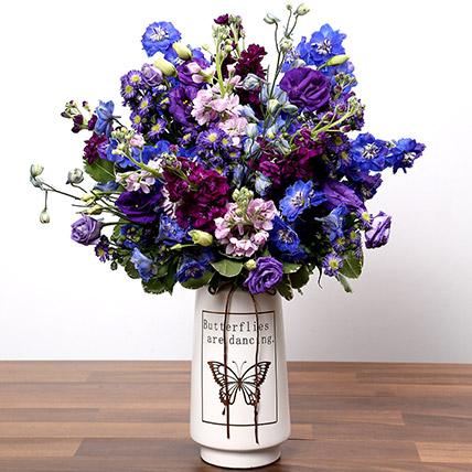 Purple and Blue Flower Arrangement: Premium Flowers