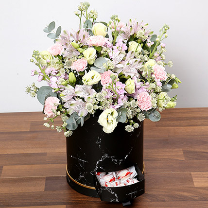 Pink and White Floral Box With Chocolates: Flower Box Dubai