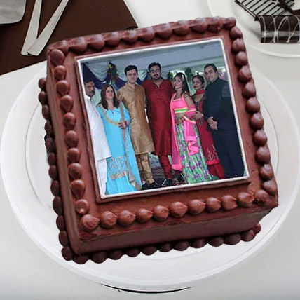 Square Photo Cake: Anniversary Cake with Photo & Name