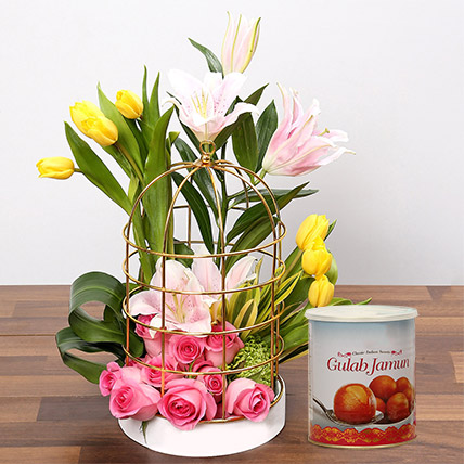Floral Cage Arrangement and Gulab Jamun Combo: Flowers With Sweets