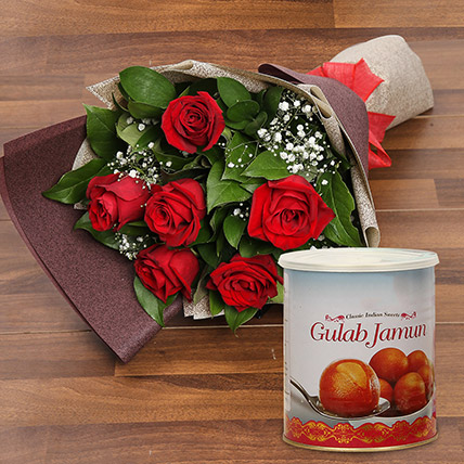 Red Roses Bouquet and Gulab Jamun Combo: Karwa Chauth Flowers & Sweets