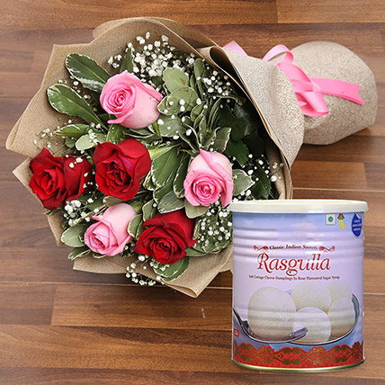 Splendid Roses Bouquet and Rasgulla Combo: Birthday Flowers With Sweets